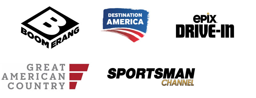 Boomerang TV Channel, Destination America, Epix Drive-In TV Channel, Great American Country TV Channel, Sportsman Channel